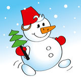 Merry snowman carrying a Christmas tree. Cartoon illustration of cheerful snowman carrying a Christmas tree. Image for postcards and greetings Stock Photography