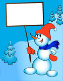 Merry snowman keeps in hand billboard Royalty Free Stock Image