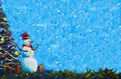 Merry snowman in red caps with gift box original painting and Christmas tree stock illustration