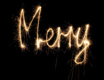 Merry sparkler word Stock Photo