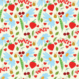 Merry summer. Bright summer pattern with flowers and berry vector illustration