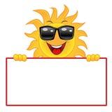 Merry sun in dark glasses holds a white banner Stock Photos