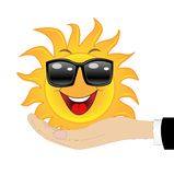 Merry sun in a hand on a white background Stock Photography