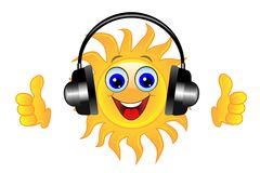 Merry sun in headsets on a white background Royalty Free Stock Photography