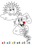 Merry sun and the kite as the counting for little kids. Calculate the examples and add color to the picture - a smiling sun and a kite - illustration Stock Photo