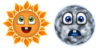 Merry, the sun and the moon is sad Stock Photo