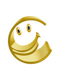 Merry symbol of gold euro. Merry gold sign of euro on a white background (contain the Clipping Path of all objects Royalty Free Stock Image
