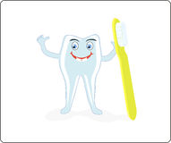 A merry tooth with a brush and paste Royalty Free Stock Photography