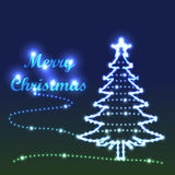 Merry tree bright. Illustration Merry Christmas bright tree green blue background Royalty Free Stock Photos