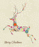 Merry Vintage christmas elements jumping reindeer Royalty Free Stock Photo