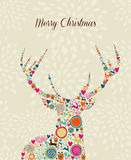 Merry Vintage christmas elements reindeer greeting Royalty Free Stock Photos