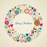 Merry Vintage christmas elements wreath. Merry Christmas Vintage elements in wreath shape greeting card background. EPS10 vector file organized in layers for Stock Photos