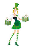 Merry waitress with glasses of green beer Stock Photography