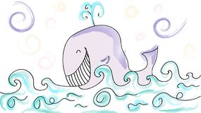 Merry whale in the sea stock illustration