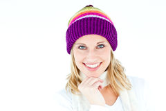 Merry woman with a colorful hat smiling Royalty Free Stock Images
