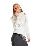Merry woman in white jacket Royalty Free Stock Photography