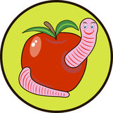 Merry worm in an apple Royalty Free Stock Image