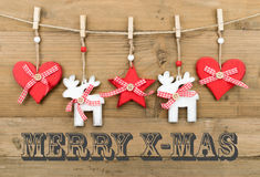 MERRY X-MAS card with decoration Royalty Free Stock Photos