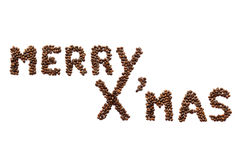 Merry X'mas (coffee beans) Stock Photo