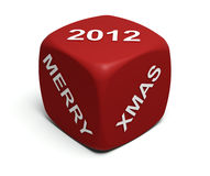 Merry Xmas 2012. Red Dice with Merry Xmas 2012 greeting on faces 3d render Stock Photos