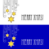 Merry Xmas!. Easy winter background with David's stars Royalty Free Stock Images