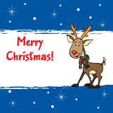 Merry Xmas!. A Xmas card with Rudolph the Reindeer Royalty Free Stock Images