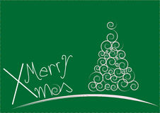 Merry xmas. Green Christmas Tree isolated on a white background Royalty Free Stock Photography