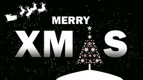 Merry xmas on black background, lettering for invitation and greeting card stock illustration