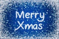 Merry Xmas on Christmas Blue Background Royalty Free Stock Images