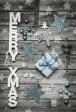 Merry Xmas: Christmas decoration in shabby chic style in light b Royalty Free Stock Image