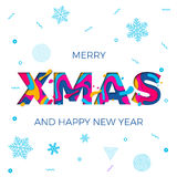 Merry Xmas Christmas Happy New Year poster snowflakes background vector paper carving. Merry Xmas or Christmas and Happy New Year background with snowflakes royalty free illustration