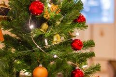 Merry - Xmas - Christmas tree and Christmas decorations royalty free stock image