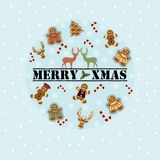 Merry Xmas Circle Cookies Royalty Free Stock Photography