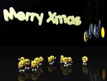Merry xmas from the emoticons Royalty Free Stock Photos