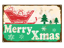 Merry Xmas Enamel Sign Stock Photos