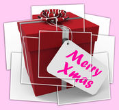Merry Xmas Gift Displays Happy Christmas Greetings Stock Photography
