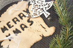 Merry xmas gingerbread with christmas decorations Stock Image