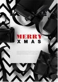 Merry Xmas greeting card background Christmas black white premium gift ribbon design template. Merry Xmas greeting card design template of black gift ribbon on Stock Photo