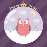 Merry Xmas greeting card with a cute owl. Inside a glass ball. Christmas postcard. Vector illustration stock illustration