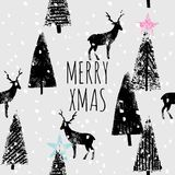 Merry xmas hand drawn trendy print. Hand drawn illustration drawing Merry Christmas 2017 in trendy black and white style. Winter xmas animal poster vector Royalty Free Stock Photos