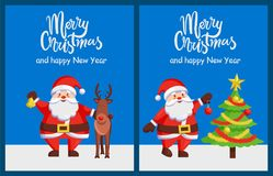 Merry Xmas Happy New Year Posters Santa Deer Tree. Merry Xmas and Happy New Year poster with Santa Claus decorating tree by color ball. Christmas Father and Royalty Free Stock Photos