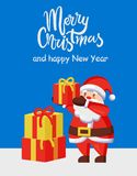 Merry Xmas Happy New Year poster Santa Gift Box. Merry Xmas and Happy New Year poster with Santa Claus and presents icon. Vector illustration with fairy tale royalty free illustration