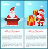 Merry Xmas Happy New Year poster Santa Gift Box. Merry Xmas and Happy New Year poster with text, Santa Claus and presents icon. Vector illustration with fairy royalty free illustration