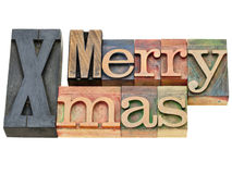 Merry Xmas in letterpress type Stock Photo