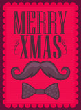 Merry Xmas - Moustache and bowtie Royalty Free Stock Photo