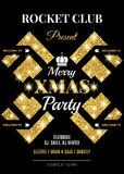 Merry XMAS party. Night club flyer template. Vector illustration. EPS 10 royalty free illustration