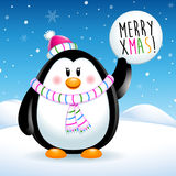 Merry Xmas, penguin on christmas Royalty Free Stock Image