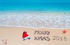 Merry Xmas 2016 on the sand Royalty Free Stock Photos