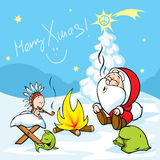 Merry Xmas - Santa with baby Jesus sitting by the fire and smokes Indian peace pipe, vector Royalty Free Stock Photos