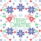 Merry Xmas Scandinavian style Nordic winter stich, knitting seamless pattern  Royalty Free Stock Image